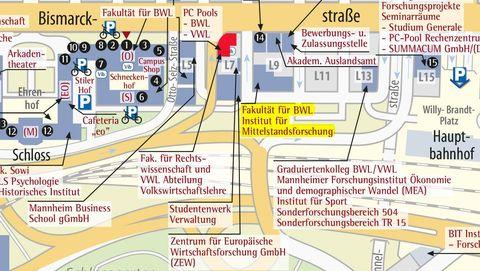 Lageplan Anfahrt Universitat Mannheim