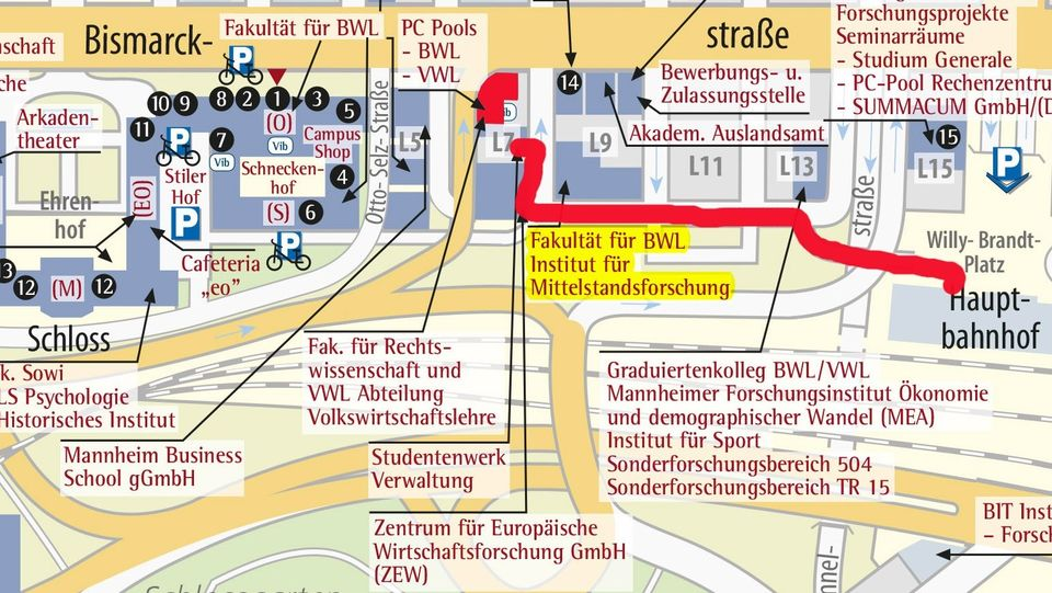 Heidelberg University Campus Map.Vwl An Der Universitat Mannheim Map And Directions